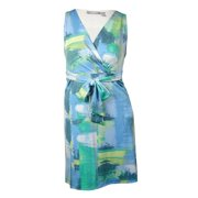 NY Collection Women's Printed Jersey Belted Jersey Dress