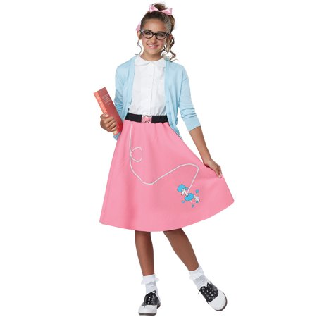 50's Pink Poodle Skirt Child Costume](50's Diner Waitress Halloween Costume)