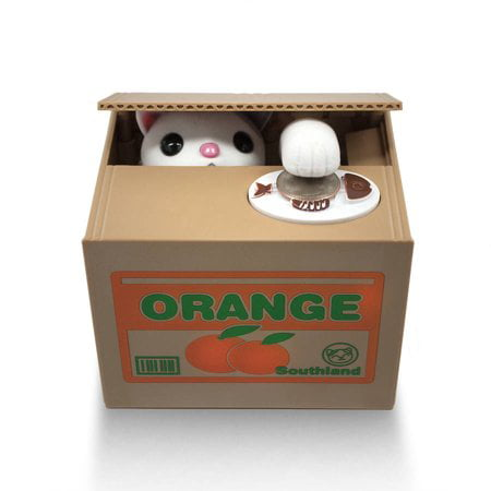 Matney Stealing Coin Cat Box, Piggy Bank, White Kitty, English Speaking, Great Gift for Any Child (English Coins)