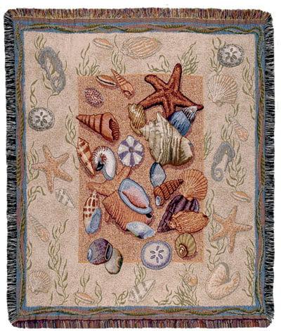 "50"" x 60"" Pastel Seashells Collage Tapestry Throw Blanket"