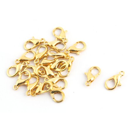 Jewelry DIY Metal Bracelet Necklace Lobster Clasp Hooks Gold Tone 12 x 6mm 20pcs - image 3 de 3