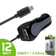 Cellet High-Powered 12-Watt (2.4-Amp) microUSB Car Charger for Smartphones and Tablets