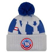 New York Giants New Era 2020 NFL Sideline Sport Pom Cuffed Knit Hat - Gray/Royal - OSFA