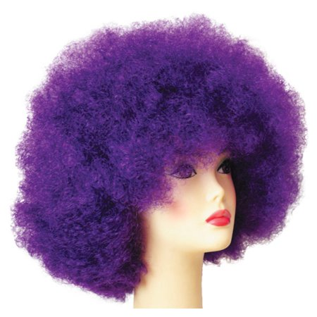 Dark Purple Afro Unisex Adult Halloween Wig Costume
