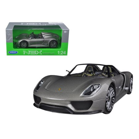 Porsche 918 Spyder Grey Open Roof 1/24 Diecast Model Car by Welly