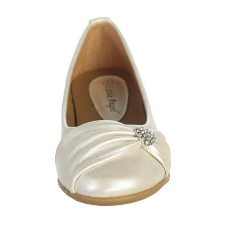 Ivory Rhinestone Heart Girls Flat Dress Shoes 11-4 - Ivory Dress Shoes For Girls