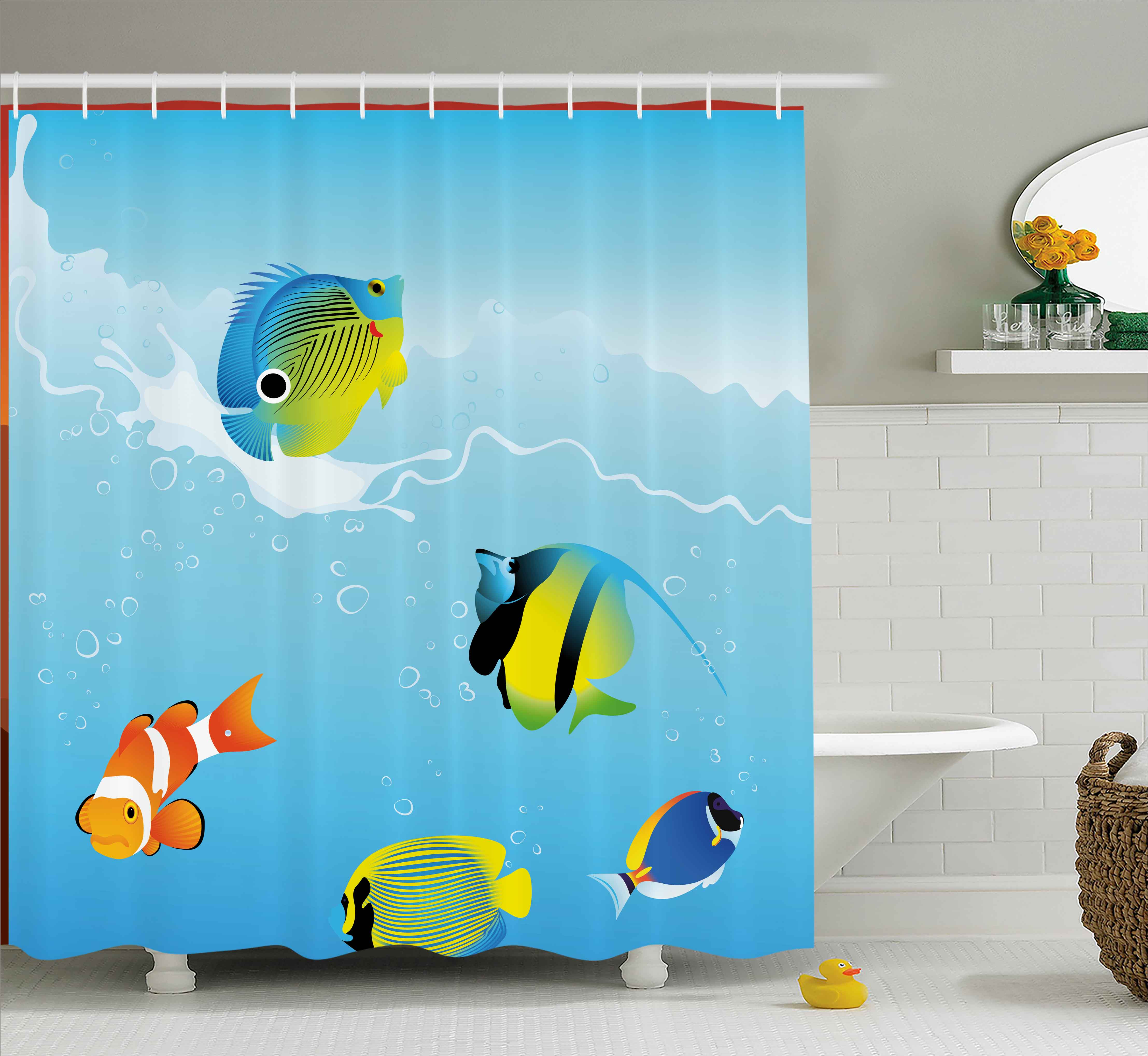 Ocean Shower Curtain, Nautical Navy Deep Sealife Image with Exotic Tropical Exotic Little Fish, Fabric Bathroom Set with Hooks, 69W X 70L Inches, Blue Orange and Yellow, by Ambesonne