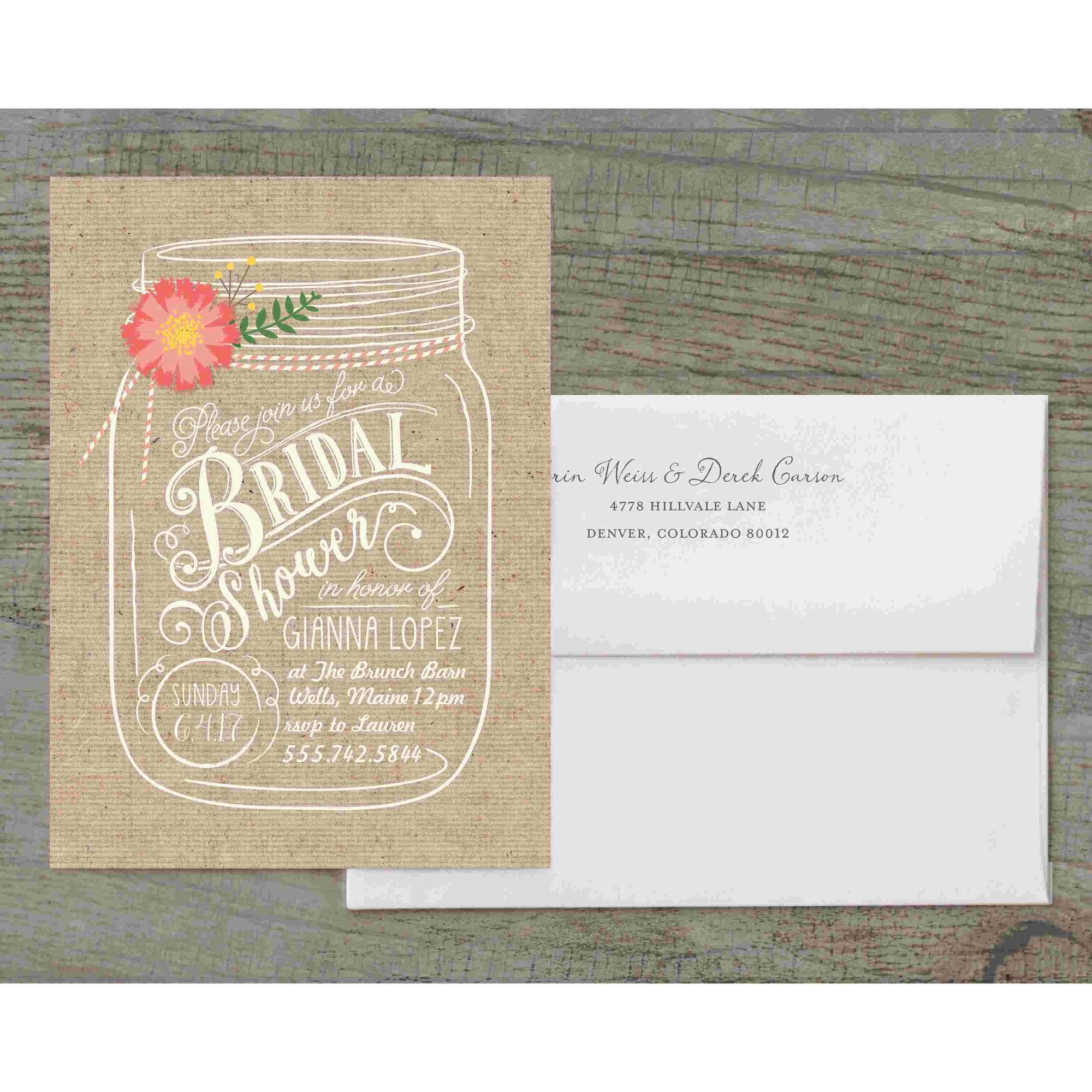 Floral Mason Jar Deluxe Bridal Shower Invitation