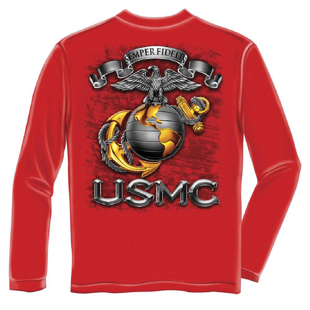 USMC Marine Corps Semper Fidelis Long Sleeve T-Shirt by , Red