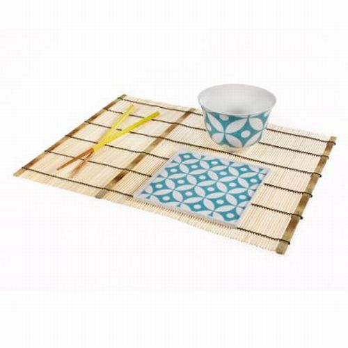 "4 Bamboo Placemat Set Authentic Asian Table Setting Sushi Thai Chinese 16""x 12"""