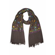 Mogul Kashmiri Shawl Woolen Crewel Floral Embroidered Ethnic Indian Scarves Stole Wrap For Womens