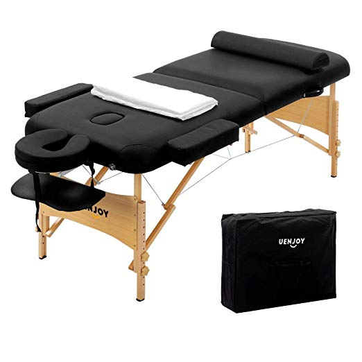 "84""L Folding Massage Table Portable 2 Fold Massage Bed Deluxe Model with Extra Width, Ultra-thick Sponge, PU Leather Surface & Additional Accessories, Black"