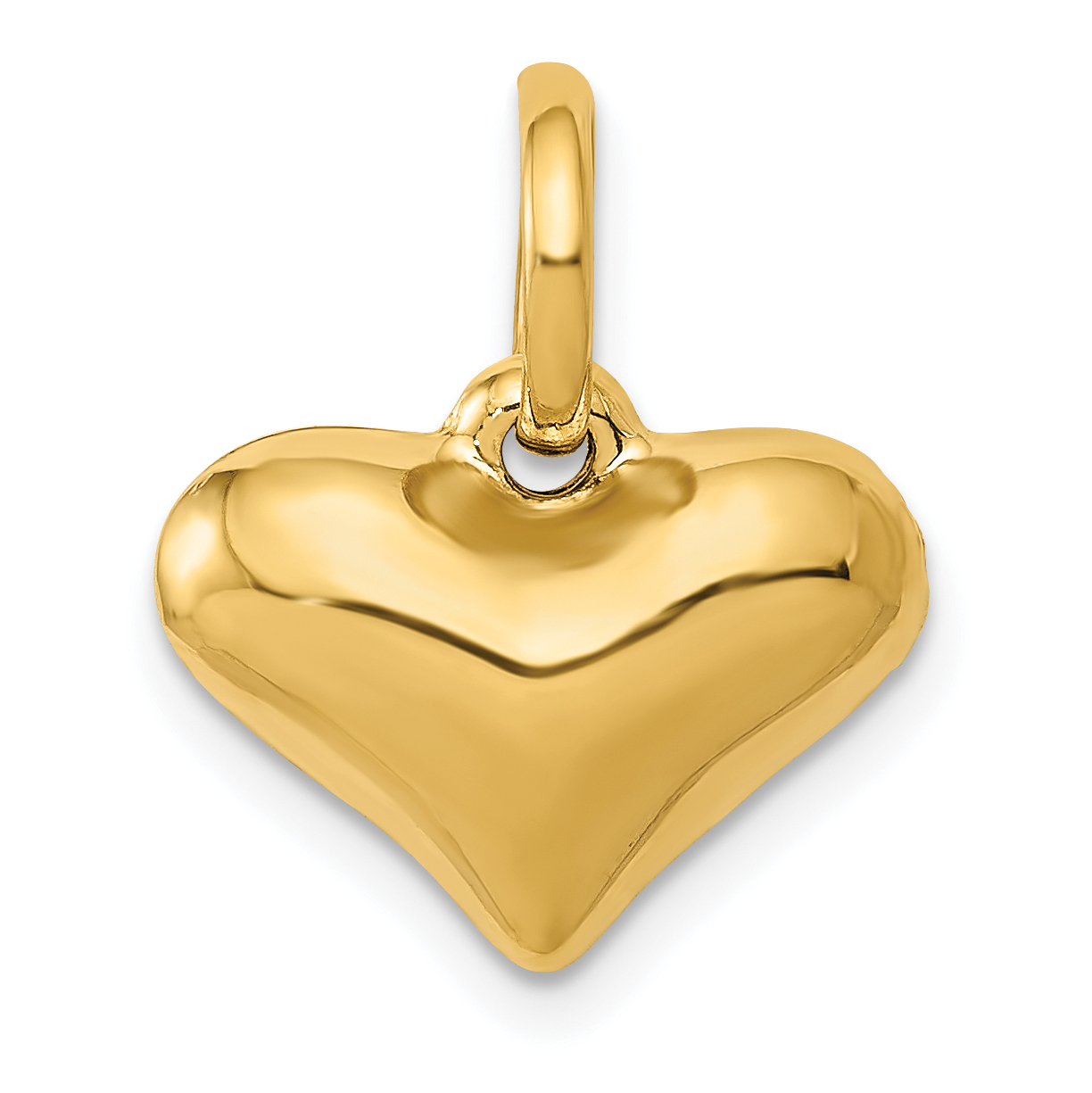 14K Yellow Gold Puffed Heart Pendant - image 2 de 2