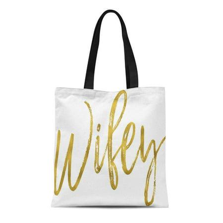 SIDONKU Canvas Tote Bag Wedding Wifey Gold Birthday Tote Bridal Bride Script Bachelorette Reusable Handbag Shoulder Grocery Shopping Bags