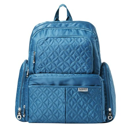 SoHo Collections, Diaper Bag Backpack with Stroller Straps, 5 Piece Complete Set, Manhattan (Cambridge Teal) (Teal Arrows Diaper Bag)