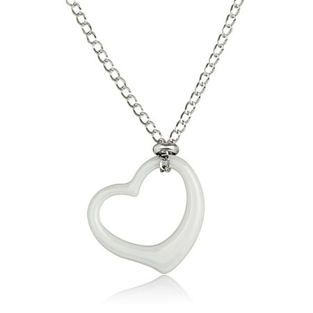 Ceramic Heart Stainless Steel Pendant Necklace (2mm) - 18