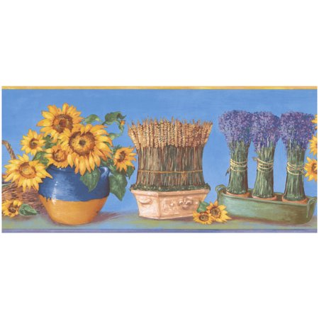 Prepasted Wallpaper Border - Sunflower in Pots Lavender Bunch Blue Wall Border Retro Design, Roll 15 ft. x 7 in.