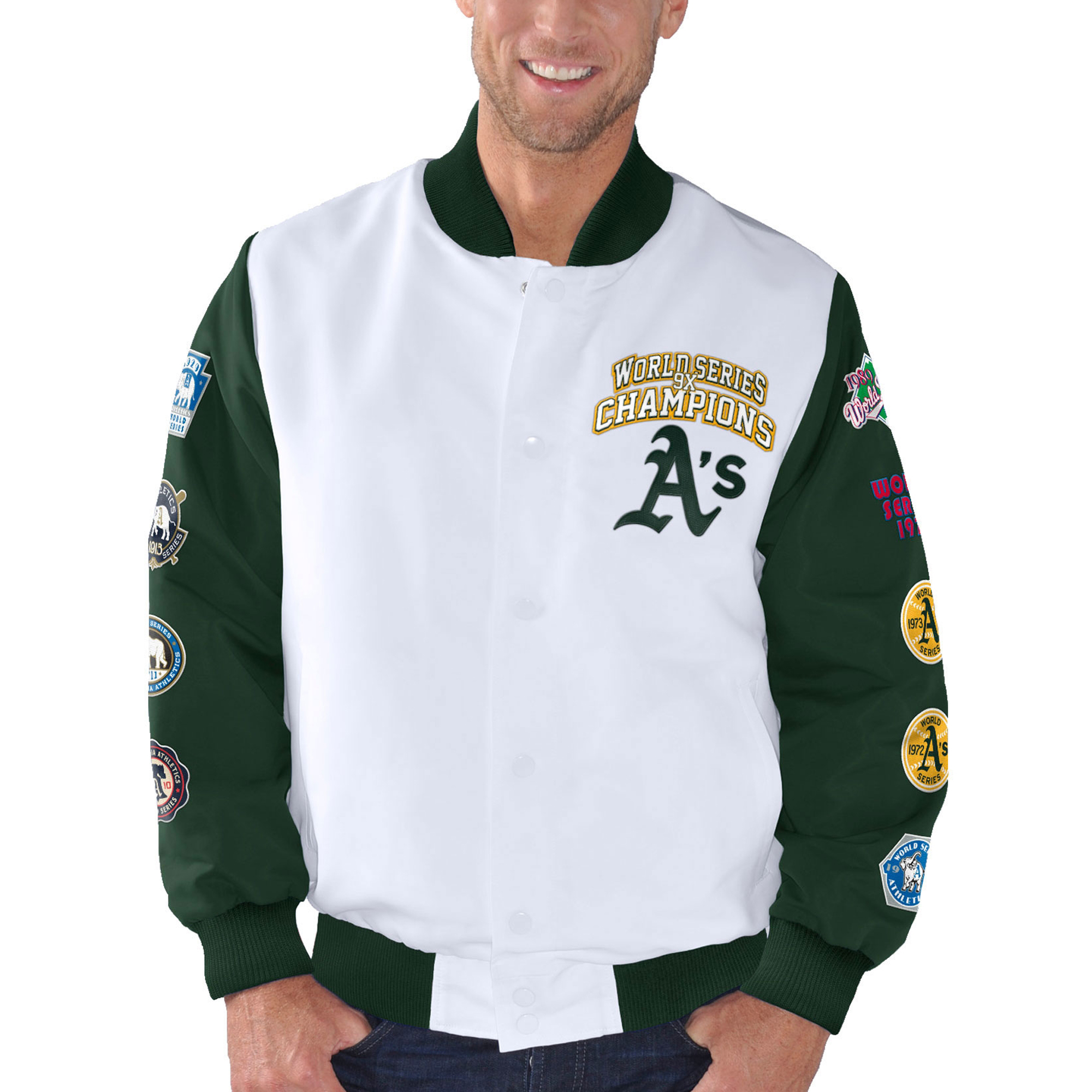 Oakland Athletics G-III Sports by Carl Banks Trophy Commemorative Jacket - White/Green