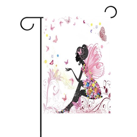 POPCreation Flower Fairy Butterfly Garden Flag Floral Print Outdoor Flag Home Party 28x40 inches (Garden Fairy Party)