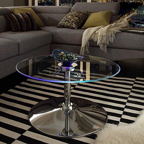 Modern Style LED Accent Tempered Glass Top Round Shaped Table-Caley Cocktail Coffee Table Chrome Metal Frame