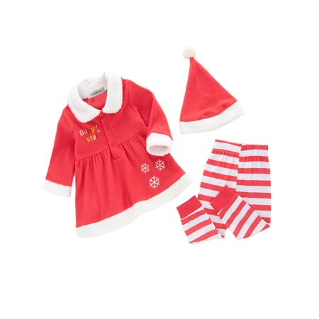StylesILove Baby Girl Christmas Holiday Sweater, Pants and Hat 3-piece Clothing Set (2-3 Years)