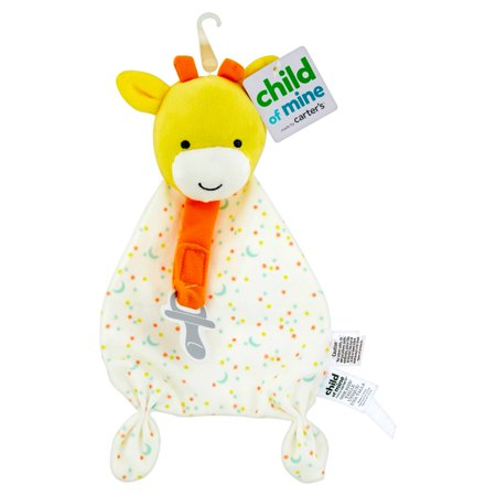 Carters Child Of Mine Giraffe Security Blanket With Paci Strip  Ivory