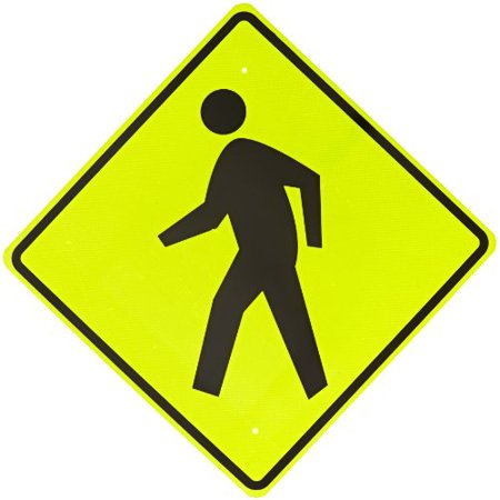 "Brady 80067 30"" Width x 30"" Height B-995 Diamond Grade Reflective on Aluminum, Black on Reflective Yellow and Green Standard Traffic Sign, Pedestrians Pictogram"