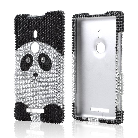 (Silver/ Black Panda Bear Bling Nokia Lumia 925 Hard Case Cover; Fashion Jeweled Snap-On Plastic Case; Perfect Fit as Best Coolest Design Cases)