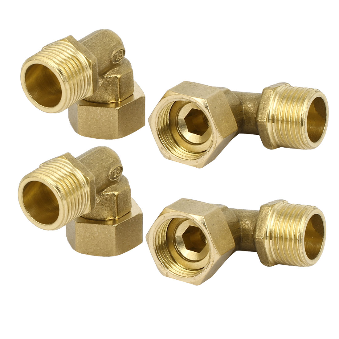 20mm Dia Male Thread Brass 90 Degree Elbow Tube Pipe Fittings Connector 4pcs