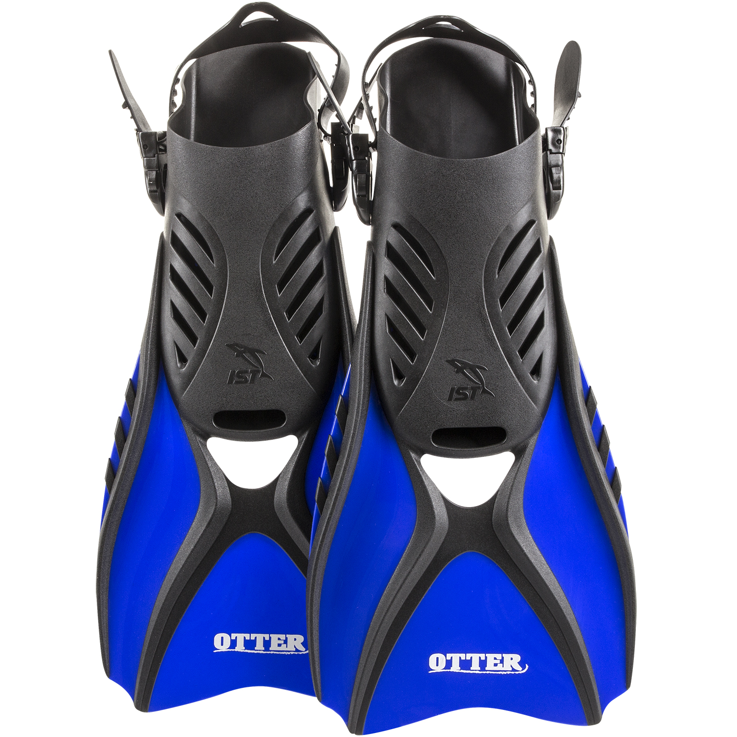 IST FK31 OTTER Trek Swim Fins, Short Compact Snorkeling Flippers with Open Heel & Adjustable Straps for Travel (Blue,... by IST