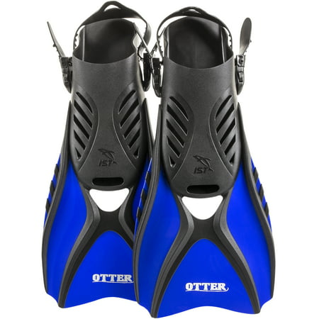 - IST FK31 OTTER Trek Swim Fins, Short Compact Snorkeling Flippers with Open Heel & Adjustable Straps for Travel (Blue, Small)