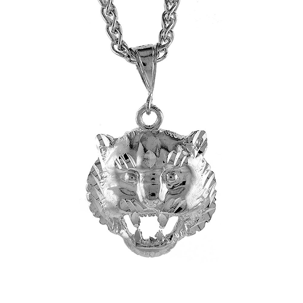 Sterling Silver Tiger Head Pendant, 1 1/8 inch tall