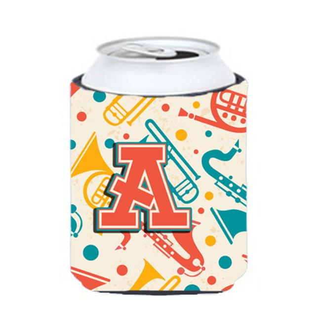 Carolines Treasures CJ2001-ACC Letter A Retro Teal Orange Musical Instruments Initial Can & Bottle Hugger - image 1 de 1