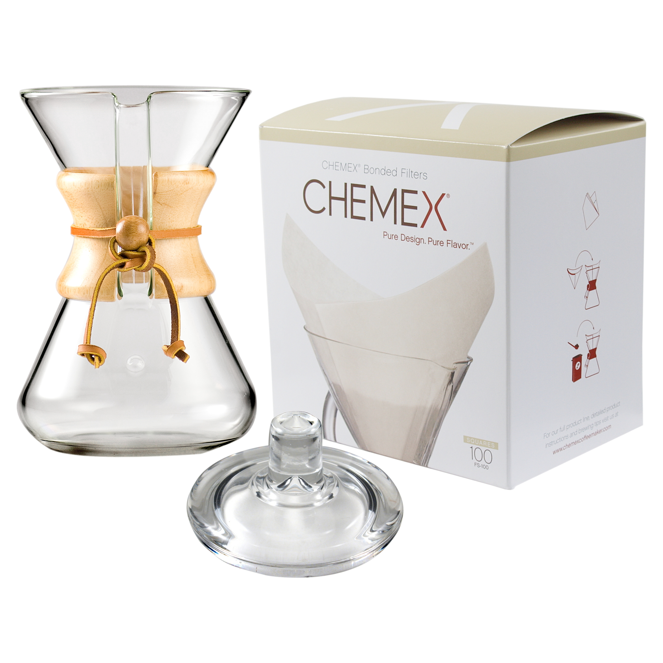 Chemex Wood Collar and Tie Glass 30 Ounce Coffee Maker with Cover and 100 Count Oxygen Cleansed Bonded Square Coffee Filters