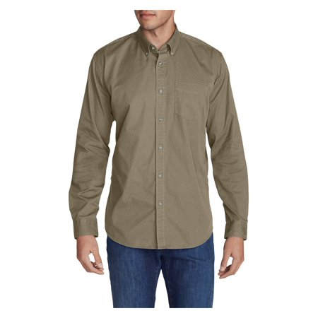 Eddie Bauer Men's Signature Twill Classic Fit Long-Sleeve Shirt - - Twill Quality Classic Shirt
