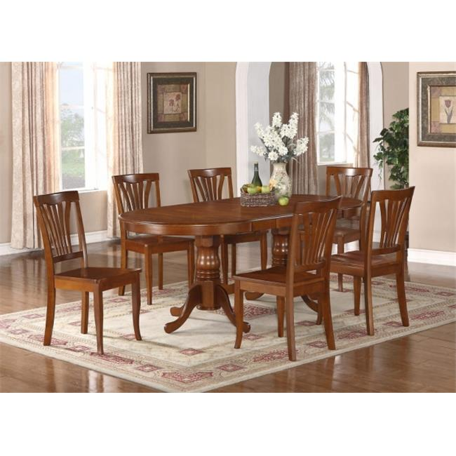 Wooden Imports Furniture NT7-SBR-W 7PC Plainville Table with Double Pedestal & 6 Avon Wood Seat Chairs in Saddle Brown Color Finish