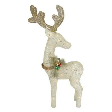 Northlight 37 in. Lighted Sisal Reindeer Christmas Yard Decoration - Reindeer Blow Ups