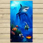 GCKG Sea Shark Fish Corals Underwater Ocean Towels,Beach Bath Pool Sprot Travel Hand Spa Towel Size 13x13 inches