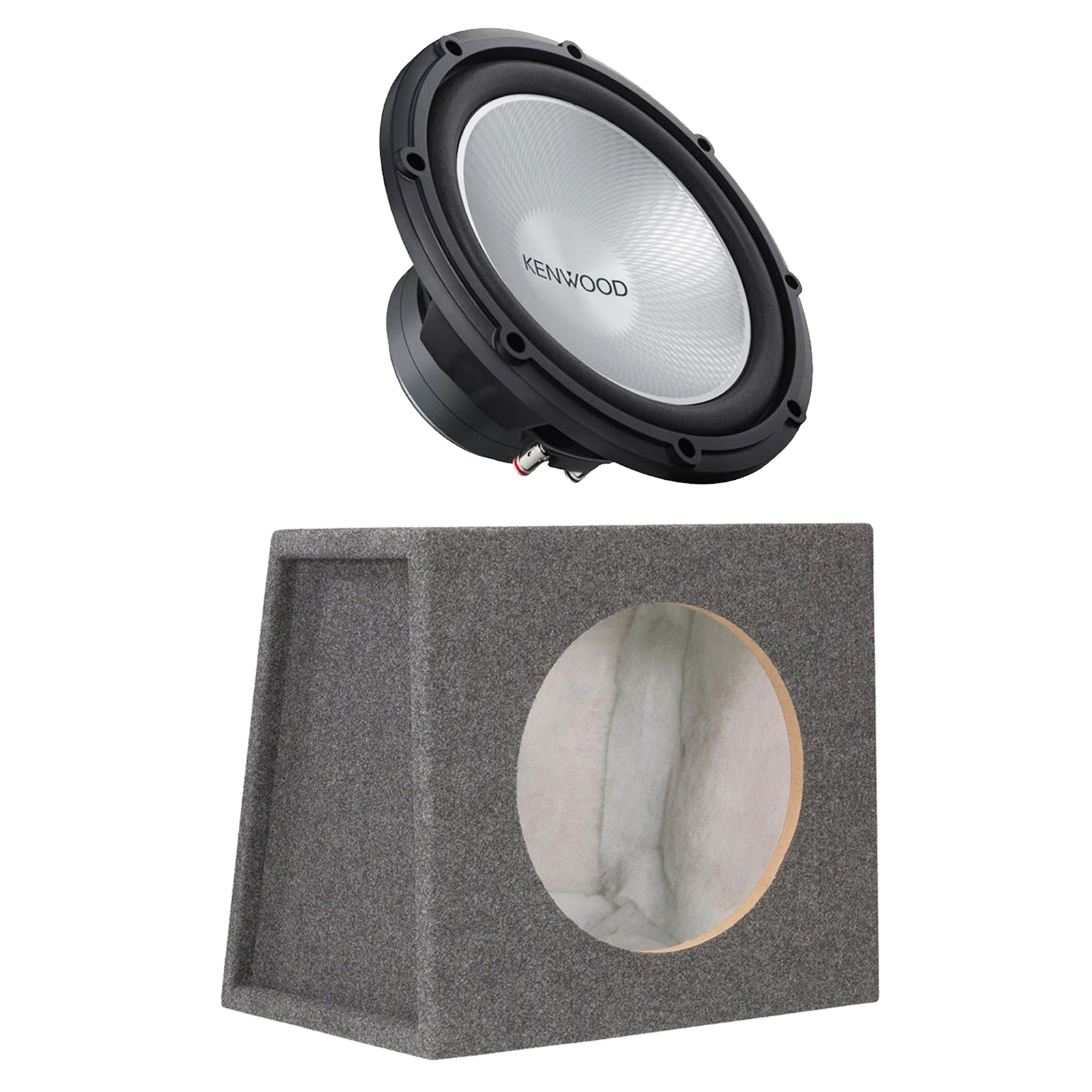 "Kenwood KFC-W12PS 12 1000W Car Subwoofer Power Sub 4 Ohm, and Scosche SE12RCC Single 12"" Subwoofer Enclosure"