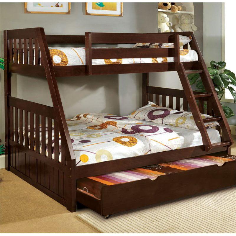 Furniture of America Welchen Twin over Full Bunk Bed in Oak