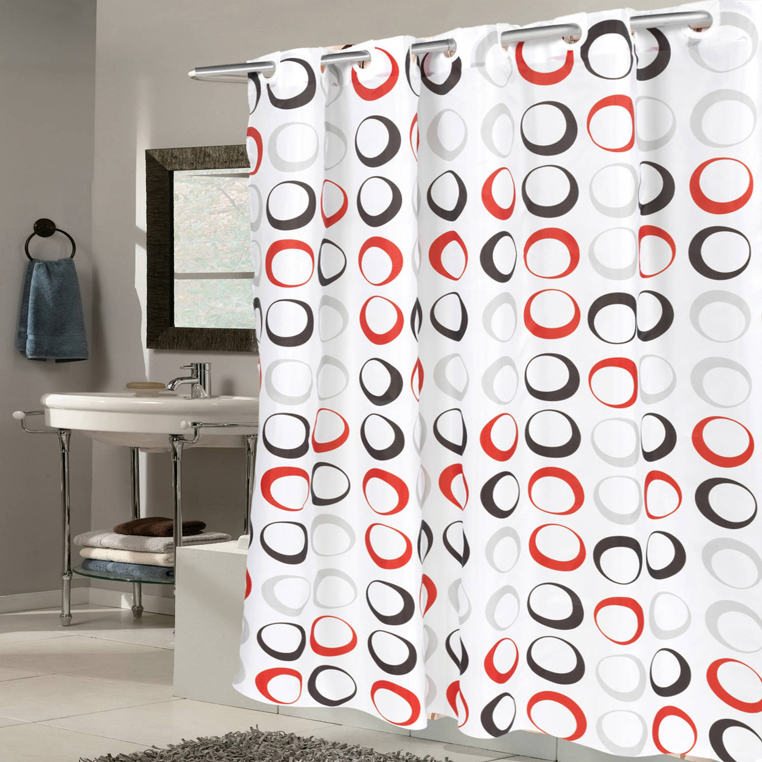 EZ On Fabric Shower Curtain Circles With Built In Hooks 70 X 75 Black Grey Red