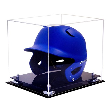 Deluxe Clear Acrylic Baseball Batting Helmet Display Case with Silver Risers (A012-SR) ()