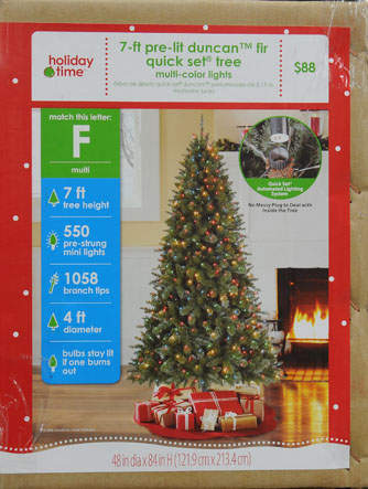 Holiday Time Pre-Lit 7' Duncan Fir Quick Set Artificial Christmas ...