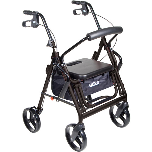 Drive Medical Duet Dual Function Transport Wheelchair Walker Rollator, Black