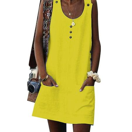 Women Hippie Boho Summer Sleeveless Loose Mini Casual Party Dress Baggy Scoop Neck Tunic Tops Beach Sundress+Two Pockets 1970s Hippie Dress