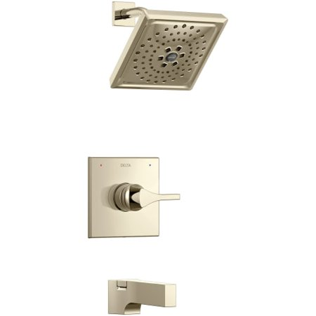 - Delta T14474 Zura 14 Series Pressure Balanced Shower and Tub Package with H2Okinetic Shower Head, Shower Arm, Tub Spout and Valve Trim - Less Rough-In Valve