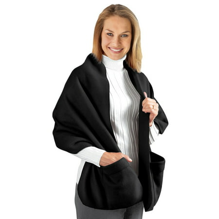 Cozy Fleece Wrap Shawl With Large Front Pockets - Keeps Hands and Shoulders Warm During Cold Winter Season,