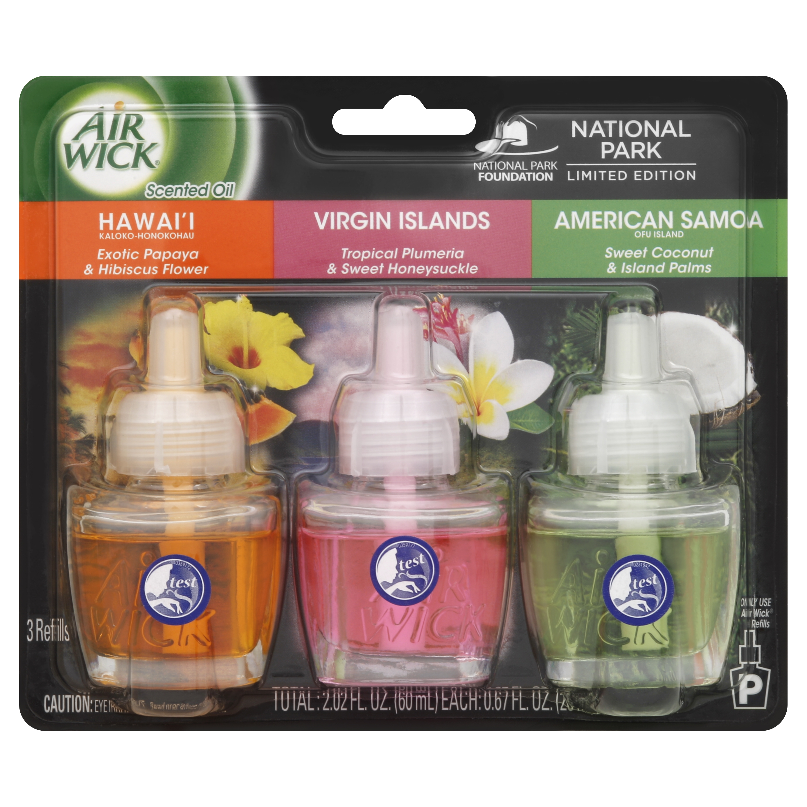Air Wick Scented Oil Air Freshener, National Park Collection, Hawaii, Virgin Islands Scent, American Samoa, Triple Refill, 0.67 Ounce