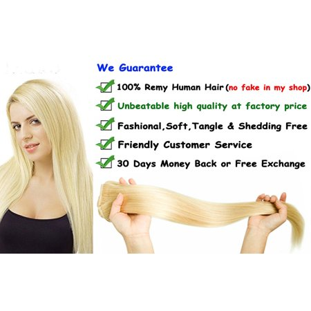 FLORATA Remy/Virgin Human Clip in Hair Extensions Full Head 8 Piece 18 Clips 80 grams Best Qulity For woman 100% Human Hair