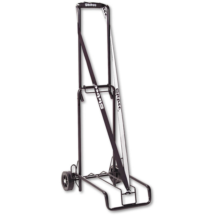 "STEBCO Luggage Cart, 125 lb Capacity, 13"" x 10"" Platform, Black Steel"